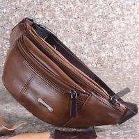 Men's 100% Cowhide Leather Waist Pack Vintage Cross Body Bag Outdoor Sport Bags