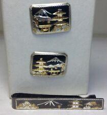 Antique Japanese 950 Sterling Silver & Enamel Cufflinks & Tie Bar Clip Set C119