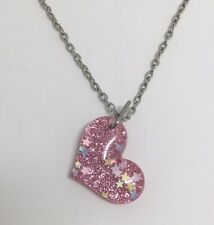 Pink Large Bubble Heart Glitter Charms Acrylic Pendant F140 18 Inches Long Chain