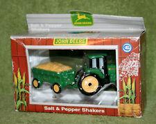 John Deere Salt Pepper Shaker Set Enesco Tractor Wagon Farm Machinery