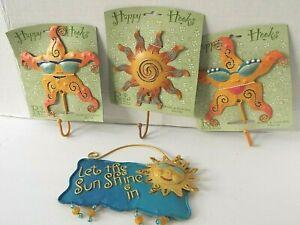 Set 4 Metal Happy Hooks Sun Starfish Home Garden Decor By Regal Art Gifts