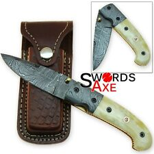 Collector's Folding Damascus Knife with Leather Sheath Blacksmith Forged