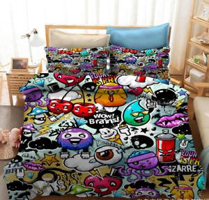 GRAFFITI Bedding Set Duvet Covers 3D Print Doodle Hip Hop Pillowcases B