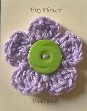 Foxy Flowers Hand Crochet Lilac Flower Green Button - 9cm - Corsage/Brooch