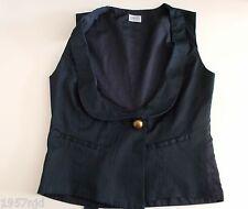 Women's Blue Self Stripe Collared Waistcoat Vest By Oasis Size 8