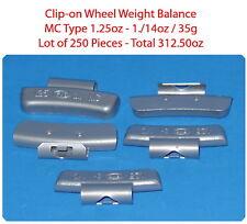 250 Pcs ZN CLIP-ON Wheel Weight Balance MC Type 1.25 1.1/4oz  35g Total 312.50oz