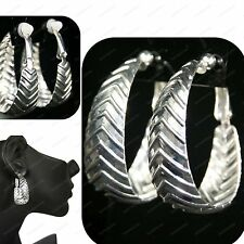 CLIP ON oval HOOP EARRINGS silver fashion hoops RETRO CLIPS no-piercing COMFY