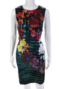 Elie Tahari  Womens Floral Print Sleeveless Dress Black Red Size 6