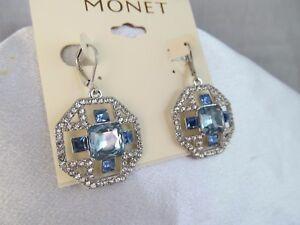 NWT MONET SILVER & BLUE CRYSTAL OCTAGON SHAPED DANGLE EARRINGS, Wedding,Stunning