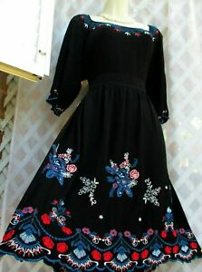BEAUTIFUL MONSOON SIZE  20 BLACK EMBROIDERED FOLKSY DRESS WILL ALSO FIT SIZE 18