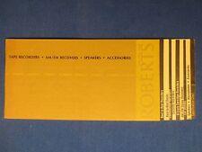 Robers R2R Cassette 8 Track Car Cassette Speakers Sales Brochure Original