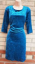 G21 TEAL BLUE BAROQUE PRINT VELVET PARTY EVENING VINTAGE TUBE PENCIL DRESS 14 L