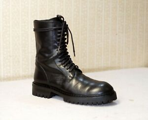 1300$ ANN DEMEULEMEESTER black leather lace up mid calf combat boots 39-40 us8.5