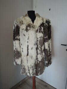 Vintage brown white real coney fur furcoat UK 10 12 S M 36 38 fur coat jacket