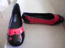 Funtasma youth girl red black LADYBUG Flats SHOES Sz 6M NEW  non skid soles