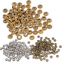 Wholesale DIY 100Pcs Tibetan Silver Gold Gear Spacer Beads Jewelry Findings 6mm