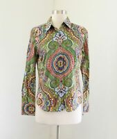 Robert Graham Green Multi Color Paisley Print Button Front Blouse Shirt Size 8