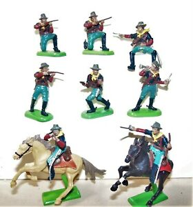 Britains US Cavalry 1870s Lot of 8 Pieces 2 Mounted VGC