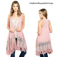 BOHO Pink Hippie Coachella Crochet Swing Long Fringed Tassel Open Vest Cardigan