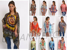 New Women Chiffon Floral Pattern Print Oversized Floaty Kaftan Top Swimwear Lace