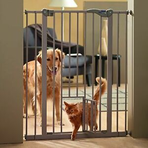 Dog Barrier Built-in Cat Door Dual Access Extention Gate Protective Fence 107cm