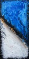 ORIGINAL Art Colorfield Painting Tall Abstract Decor TEXTURE Blue 12x24 inch
