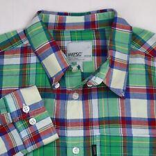 WESC We Superlative Conspiracy Long Sleeve Button Down Plaid Mens Shirt M