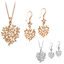 Women's Fashion 9K Gold Plated Leaf Design Necklace Earrings Jewelry Set Adroit