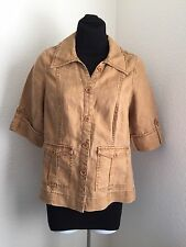 Woman's !00% Linen Jacket 3/4 sleeve brown fitted Putumayo Size Small