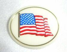 New listing Lenox U.S.A. American Flag Porcelain /Ivory Colored China Brooch /Pin Gold Trim!