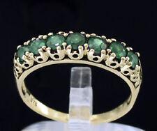 R302 Genuine 9K, 10K, 18K Real Gold Natural Emerald 7-stone Eternity Ring