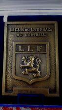 ancienne medaille plaque bronze sport  football ligue du lyonnais llf ecrin