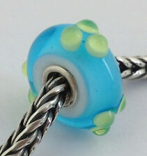 Authentic Trollbeads Turquoise / Green Spring Bud Bead Charm 61366, New