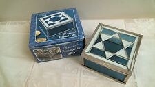 CHANUKAH keepsake box BLUE & WHITE STAINED GLASS MOTIF jewelry box