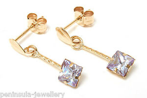 9ct Gold CZ Drop Earrings Lilac 4mm Square Made in UK Gift Boxed