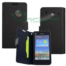 Custodia eco pelle morbida BOOK NERA per Huawei Ascend G510 libretto case nuova