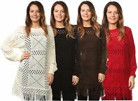 Ladies Women's Crochet Knitted Crew Neck Acrylic Jumpers Tassel Tops Plus Sizes