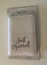 """JUST MARRIED"" White Passport Cover/Case Silver Wording - Wedding/Honeymoon Gift"