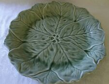 "LARGE Antique Majolica Minton  Platter Plate Sage Green 16"" LOTUS LEAF DESIGN"
