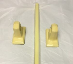 1950's NEW OLD STOCK  Bathroom  Towel Bar Porcelain Ends Wood Bar YELLOW 26""