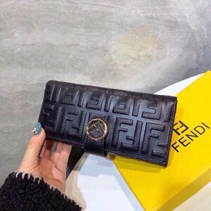 Authentic Womens Fendi Cowhide Leather Black Long Wallet