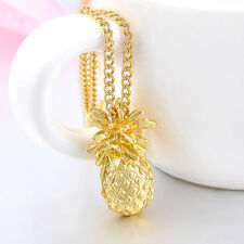 Gold Pplated Long Necklace Jewelry New Charming Yellow Pineapple Pendant Fruit