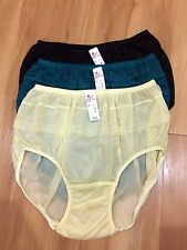 panties vintage bikini nylon satin lace hi brief size XL Lacy Sheer Soft [x3]