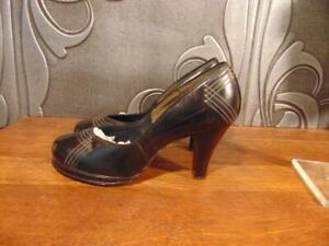 50s GOLD ROOM EXQUISITE STYLES BLACK PLATFORM BABYDOLL SHOES SILVER STUDS SZ 8