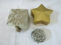 Vintage Trinket Boxes Square Silk Beads Gold Star Oyster Ring Box Set of 3
