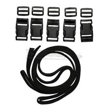 1 Inch Polypropylene Webbing:Black Nylon Strap 4.37 yards with 5 Release Buckles