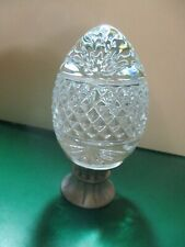Vintage Egg,Lead Crystal, Cut Glass, Marked France, With Metal Stand/Candlestick