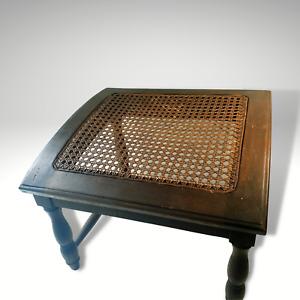 Retro Wooden Woven Footstool Rattan Foot rest / Wicker The PIER