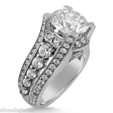8MM ROUND CUT MOISSANITE & DIAMONDS ANTIQUE STYLE SPLIT SHANK ENGAGEMENT RING