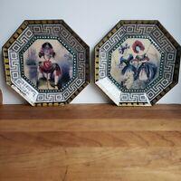 Pair of decorative decoupage plates flower ladies Greek key design Passiflora